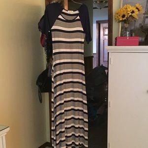 Blue& White Striped Maxi Dress